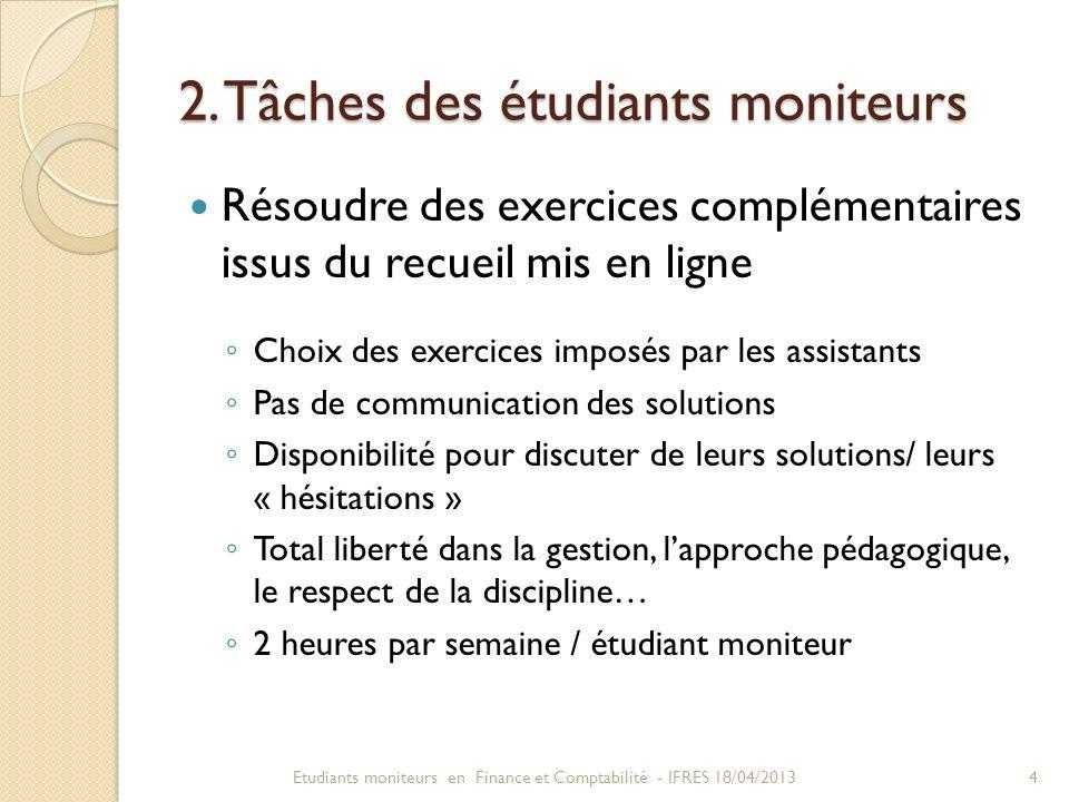 2. Tâches des étudiants moniteurs Résoudre des exercices complémentaires issus du recueil mis en ligne Choix des exercices imposés par les assistants