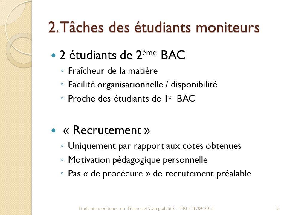 2. Tâches des étudiants moniteurs 2 étudiants de 2 ème BAC Fraîcheur de la matière Facilité organisationnelle / disponibilité Proche des étudiants de