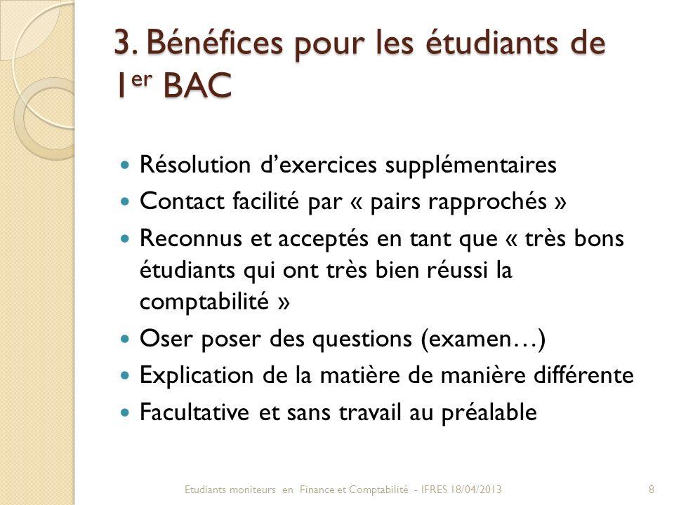 3. Bénéfices pour les étudiants de 1 er BAC Résolution dexercices supplémentaires Contact facilité par « pairs rapprochés » Reconnus et acceptés en ta
