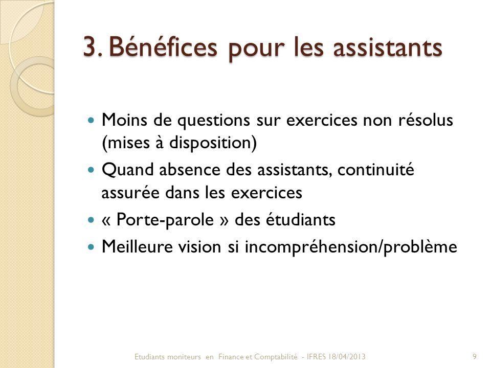 3. Bénéfices pour les assistants Moins de questions sur exercices non résolus (mises à disposition) Quand absence des assistants, continuité assurée d