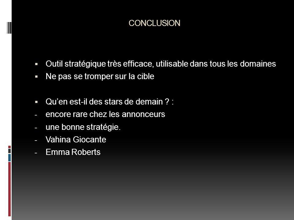 CONCLUSION Outil stratégique très efficace, utilisable dans tous les domaines Ne pas se tromper sur la cible Quen est-il des stars de demain ? : - enc