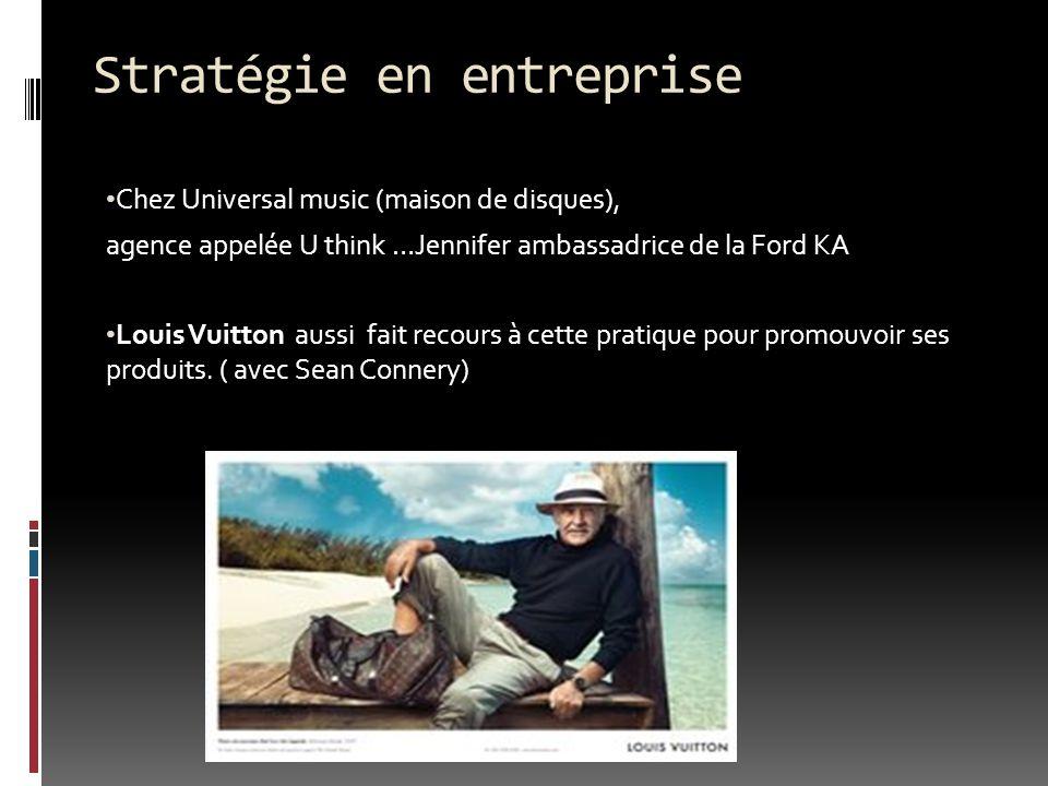 Chez Universal music (maison de disques), agence appelée U think …Jennifer ambassadrice de la Ford KA Louis Vuitton aussi fait recours à cette pratiqu