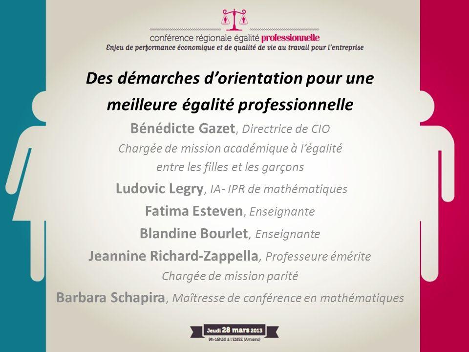 Des démarches dorientation pour une meilleure égalité professionnelle Bénédicte Gazet, Directrice de CIO Chargée de mission académique à légalité entr