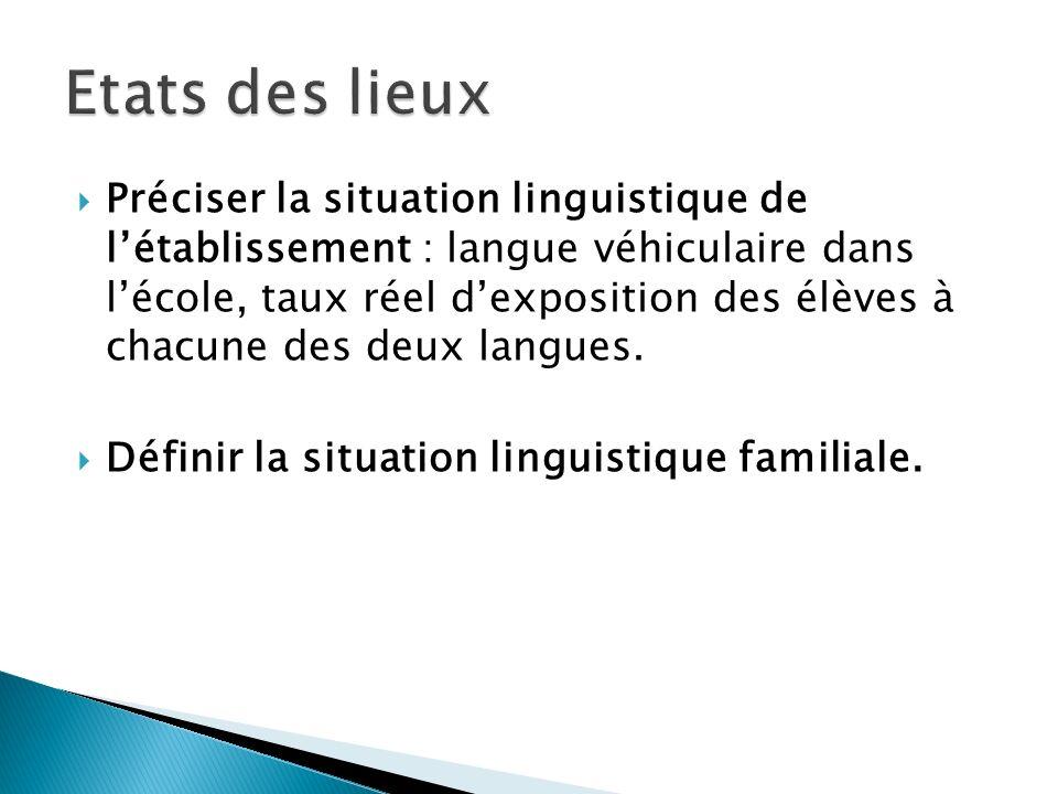 Préciser la situation linguistique de létablissement : langue véhiculaire dans lécole, taux réel dexposition des élèves à chacune des deux langues. Dé