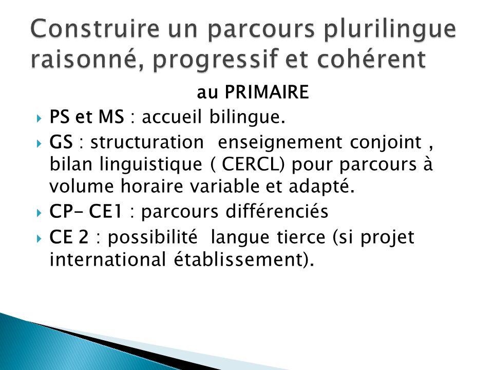 au PRIMAIRE PS et MS : accueil bilingue. GS : structuration enseignement conjoint, bilan linguistique ( CERCL) pour parcours à volume horaire variable