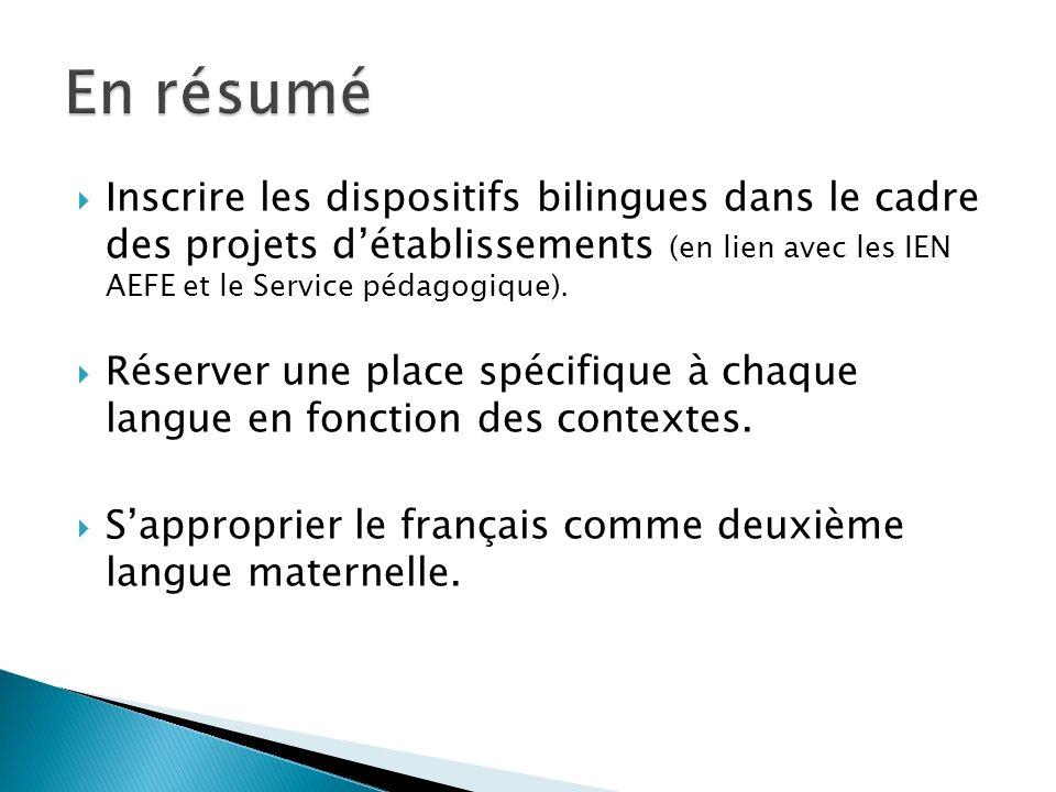 Inscrire les dispositifs bilingues dans le cadre des projets détablissements (en lien avec les IEN AEFE et le Service pédagogique). Réserver une place