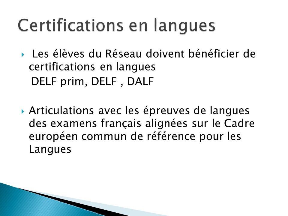 Les élèves du Réseau doivent bénéficier de certifications en langues DELF prim, DELF, DALF Articulations avec les épreuves de langues des examens fran