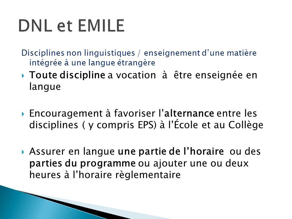 Disciplines non linguistiques / enseignement dune matière intégrée à une langue étrangère Toute discipline a vocation à être enseignée en langue Encou
