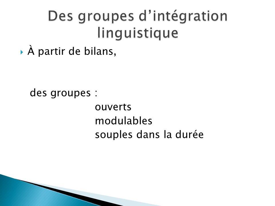 À partir de bilans, des groupes : ouverts modulables souples dans la durée