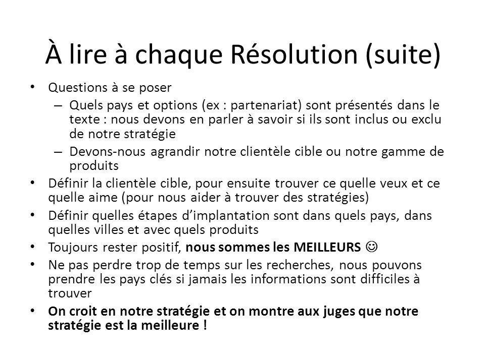 À lire à chaque Résolution (suite) Questions à se poser – Quels pays et options (ex : partenariat) sont présentés dans le texte : nous devons en parle