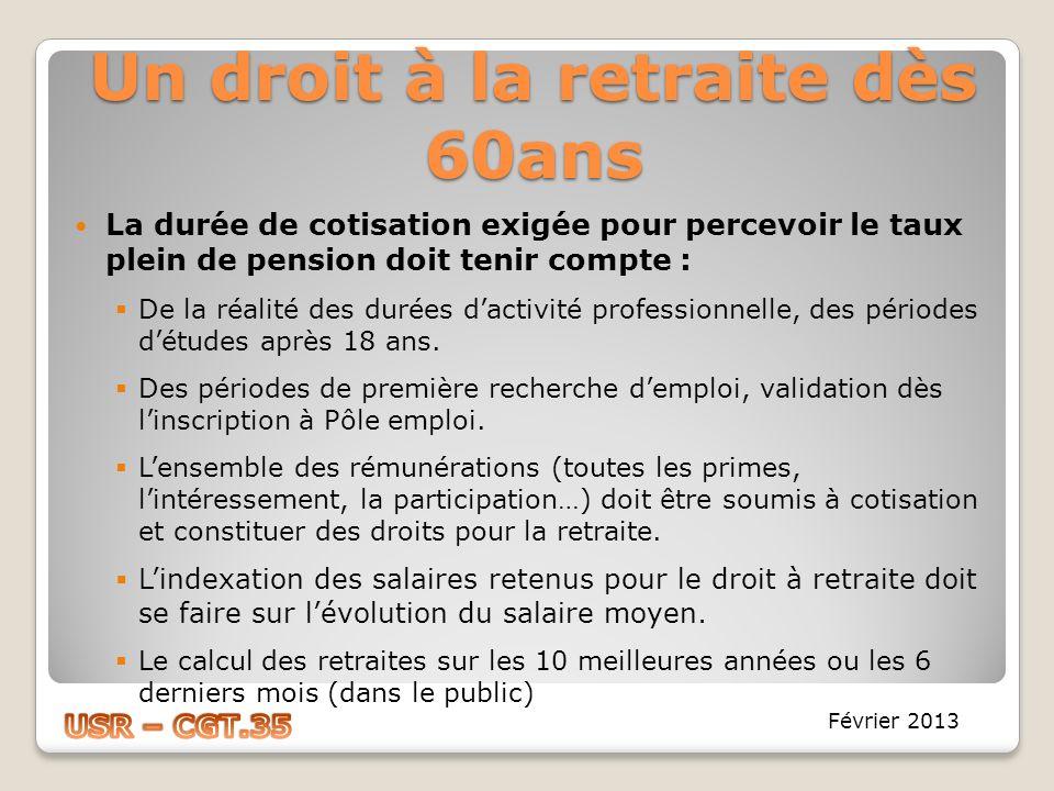 Un droit à la retraite dès 60ans La durée de cotisation exigée pour percevoir le taux plein de pension doit tenir compte : De la réalité des durées da