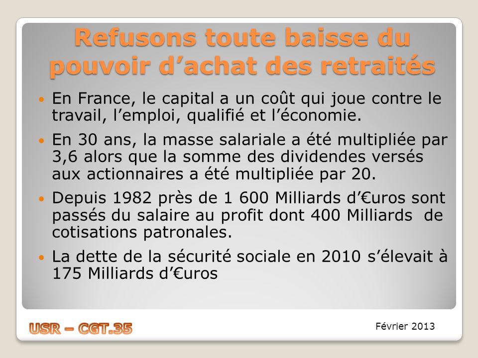 Refusons toute baisse du pouvoir dachat des retraités En France, le capital a un coût qui joue contre le travail, lemploi, qualifié et léconomie. En 3