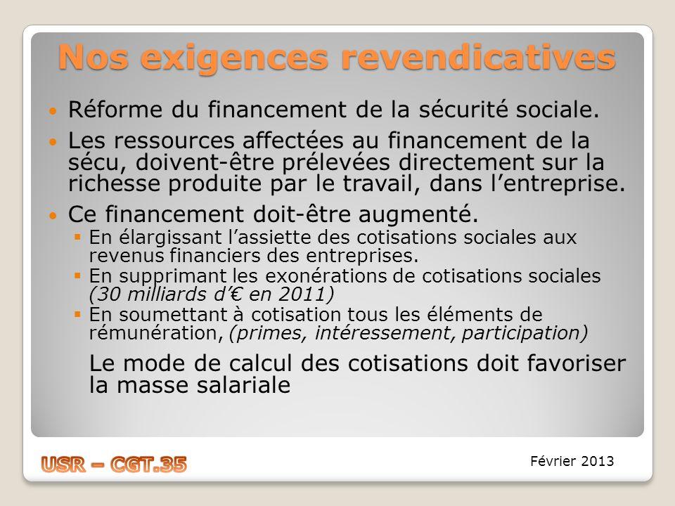Nos exigences revendicatives Réforme du financement de la sécurité sociale. Les ressources affectées au financement de la sécu, doivent-être prélevées