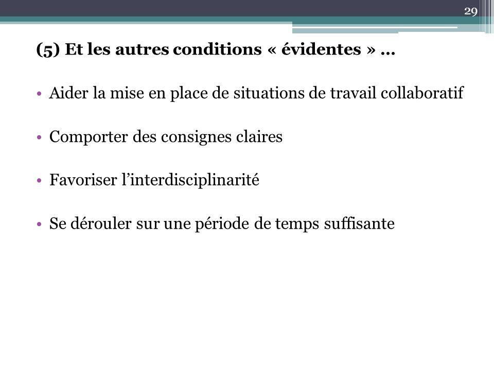 (5) Et les autres conditions « évidentes » … Aider la mise en place de situations de travail collaboratif Comporter des consignes claires Favoriser linterdisciplinarité Se dérouler sur une période de temps suffisante 29