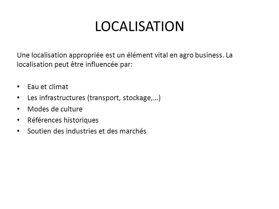 LOCALISATION Une localisation appropriée est un élément vital en agro business. La localisation peut être influencée par: Eau et climat Les infrastruc