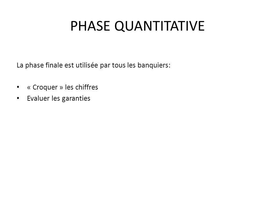 PHASE QUANTITATIVE La phase finale est utilisée par tous les banquiers: « Croquer » les chiffres Evaluer les garanties