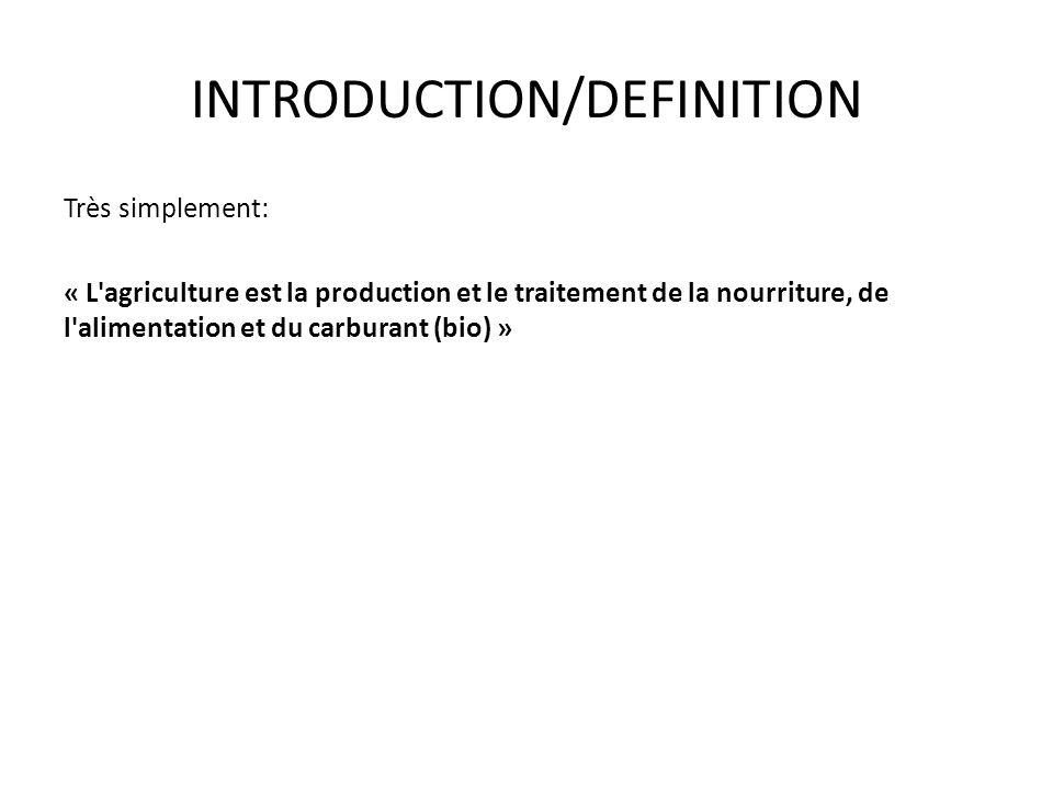 INTRODUCTION/DEFINITION Très simplement: « L'agriculture est la production et le traitement de la nourriture, de l'alimentation et du carburant (bio)
