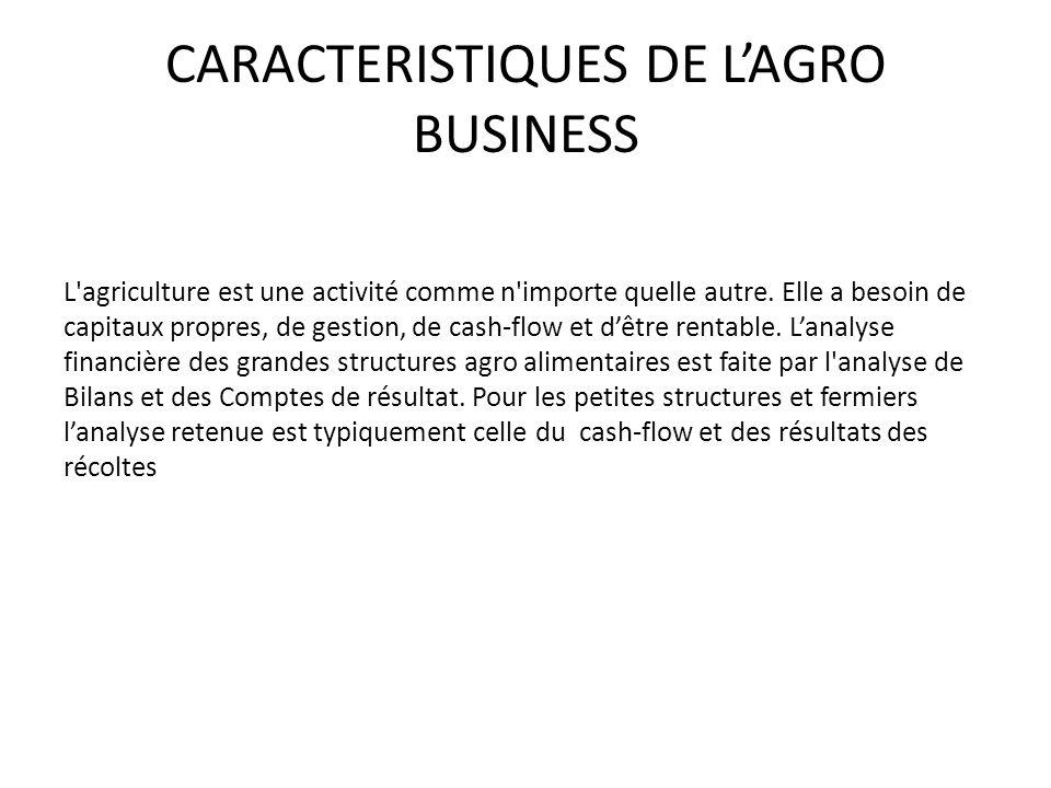 CARACTERISTIQUES DE LAGRO BUSINESS L'agriculture est une activité comme n'importe quelle autre. Elle a besoin de capitaux propres, de gestion, de cash