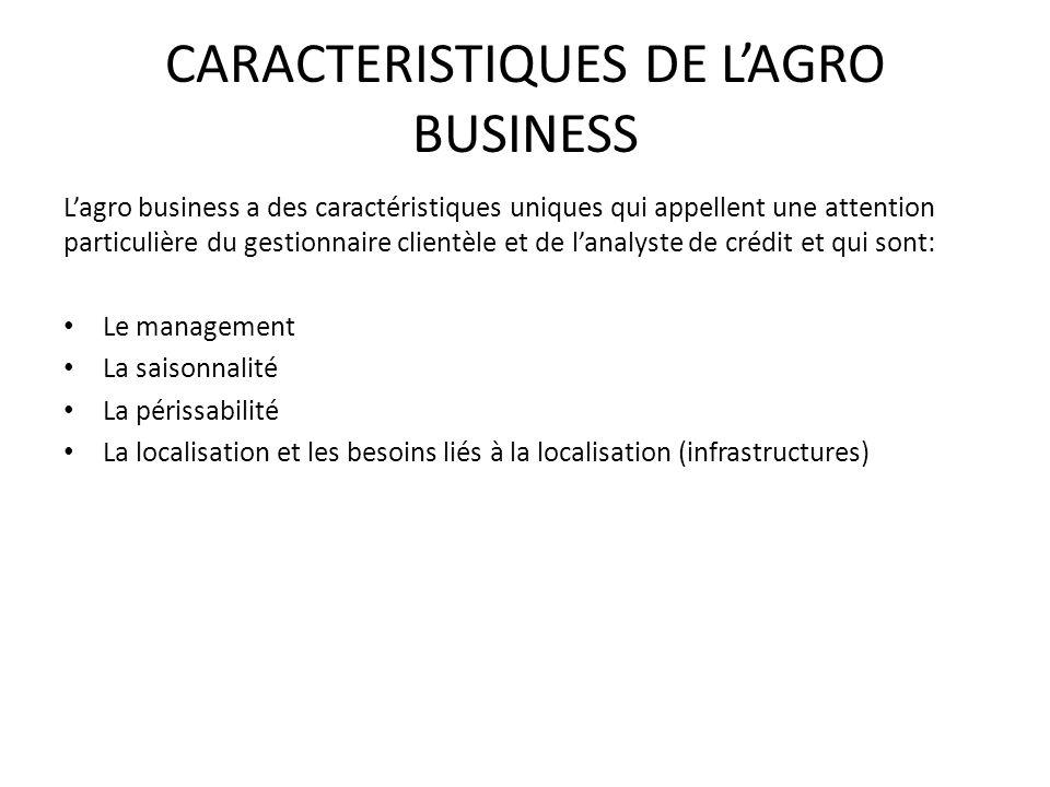 CARACTERISTIQUES DE LAGRO BUSINESS Lagro business a des caractéristiques uniques qui appellent une attention particulière du gestionnaire clientèle et de lanalyste de crédit et qui sont: Le management La saisonnalité La périssabilité La localisation et les besoins liés à la localisation (infrastructures)