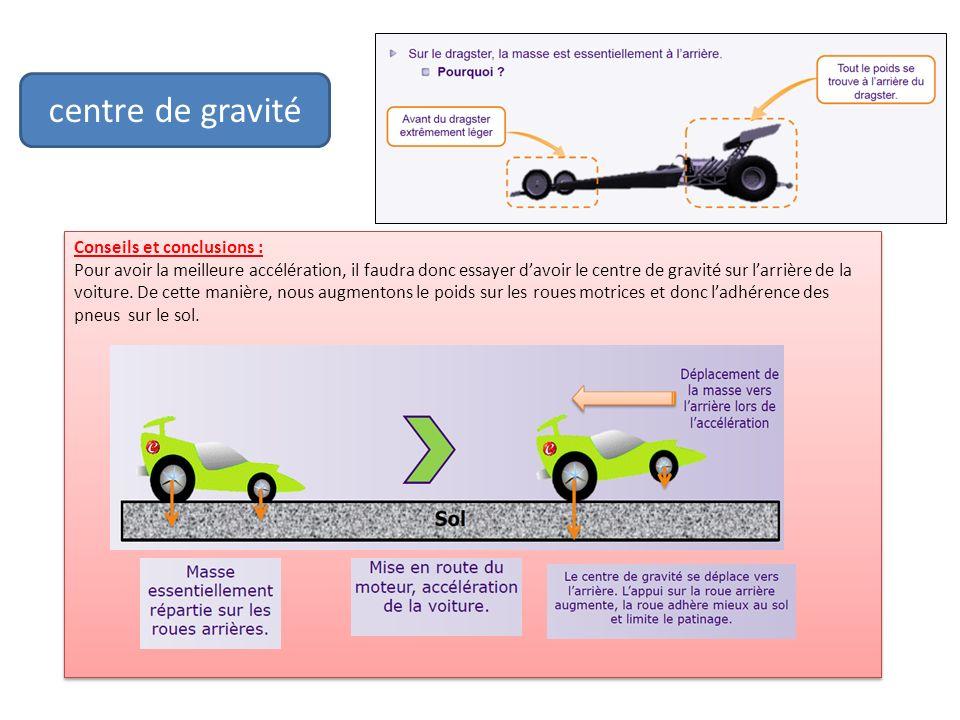 centre de gravité Conseils et conclusions : Pour avoir la meilleure accélération, il faudra donc essayer davoir le centre de gravité sur larrière de l