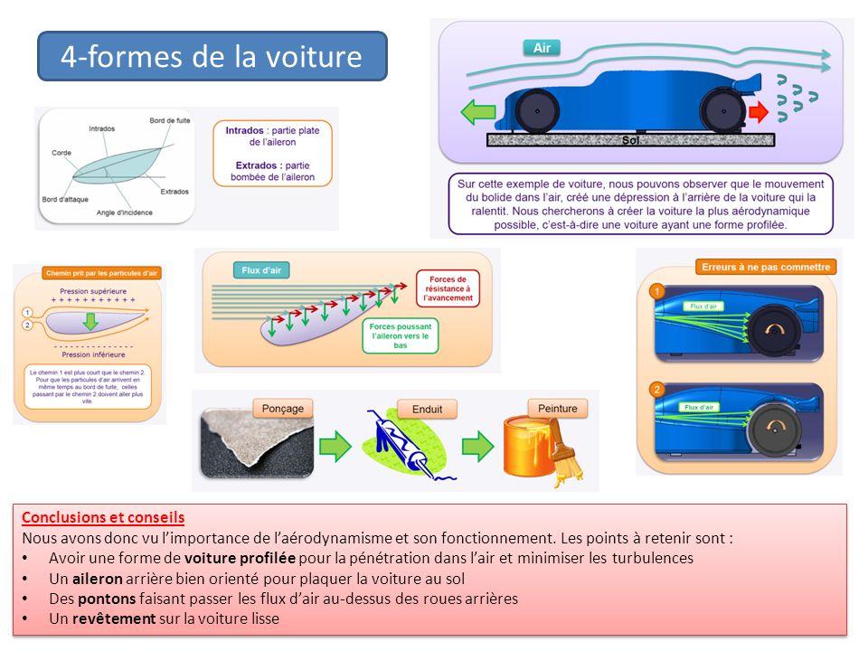 4-formes de la voiture Conclusions et conseils Nous avons donc vu limportance de laérodynamisme et son fonctionnement. Les points à retenir sont : Avo