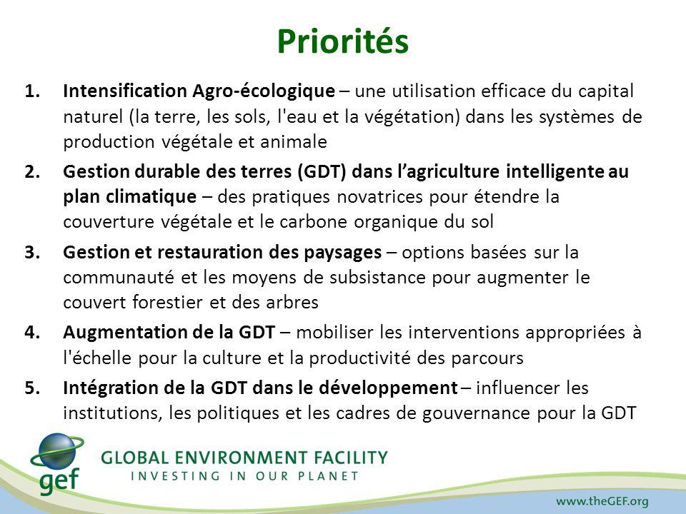 Priorités 1.Intensification Agro-écologique – une utilisation efficace du capital naturel (la terre, les sols, l'eau et la végétation) dans les systèm