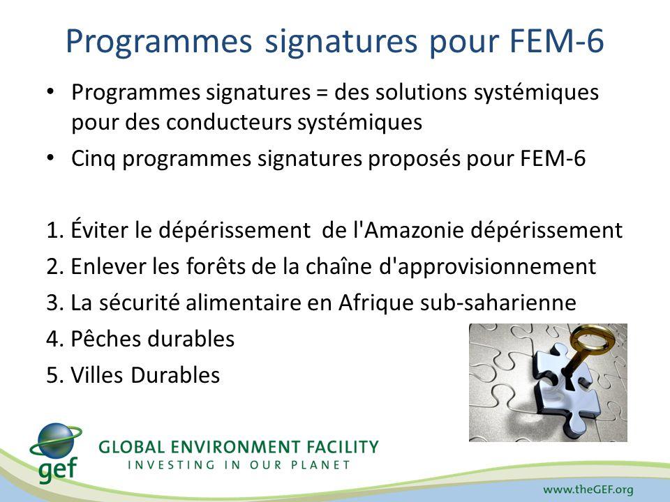 Programmes signatures pour FEM-6 Programmes signatures = des solutions systémiques pour des conducteurs systémiques Cinq programmes signatures proposé
