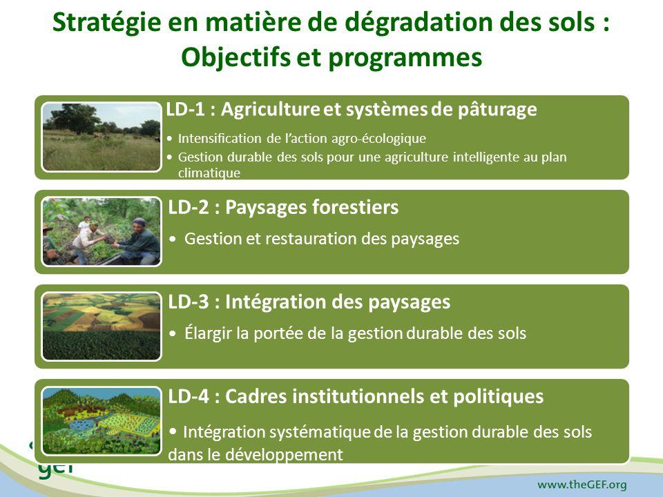 Priorités 1.Intensification Agro-écologique – une utilisation efficace du capital naturel (la terre, les sols, l eau et la végétation) dans les systèmes de production végétale et animale 2.Gestion durable des terres (GDT) dans lagriculture intelligente au plan climatique – des pratiques novatrices pour étendre la couverture végétale et le carbone organique du sol 3.Gestion et restauration des paysages – options basées sur la communauté et les moyens de subsistance pour augmenter le couvert forestier et des arbres 4.Augmentation de la GDT – mobiliser les interventions appropriées à l échelle pour la culture et la productivité des parcours 5.Intégration de la GDT dans le développement – influencer les institutions, les politiques et les cadres de gouvernance pour la GDT