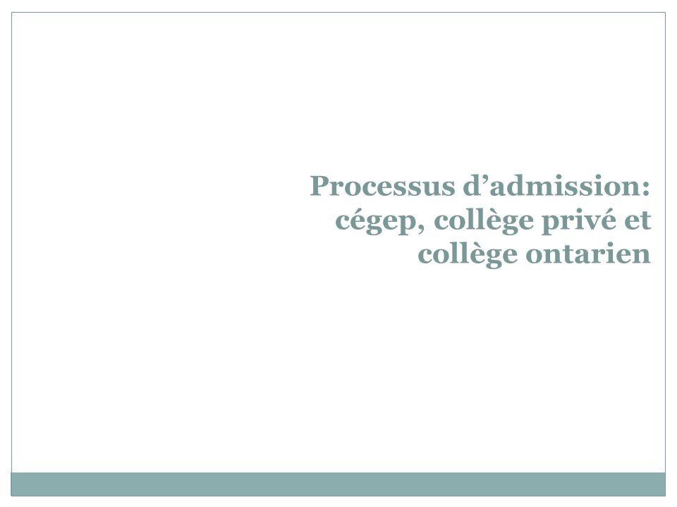 Processus dadmission: cégep, collège privé et collège ontarien