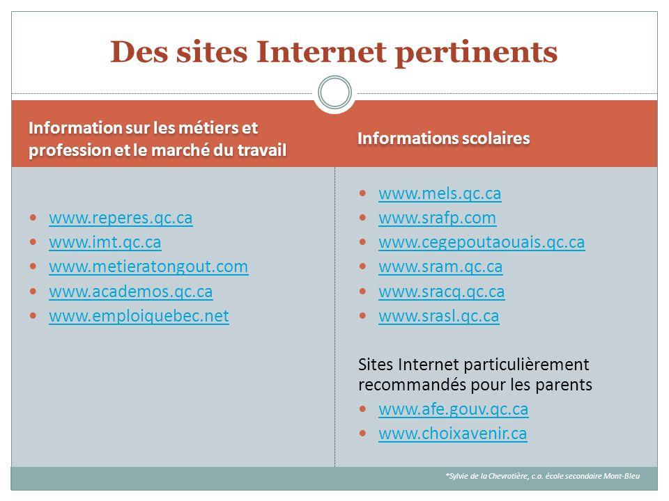 Information sur les métiers et profession et le marché du travail Informations scolaires www.reperes.qc.ca www.imt.qc.ca www.metieratongout.com www.ac
