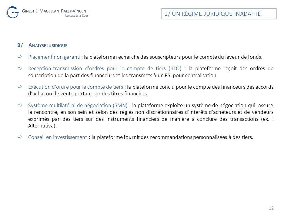 B/A NALYSE JURIDIQUE Placement non garanti : la plateforme recherche des souscripteurs pour le compte du leveur de fonds. Réception-transmission dordr