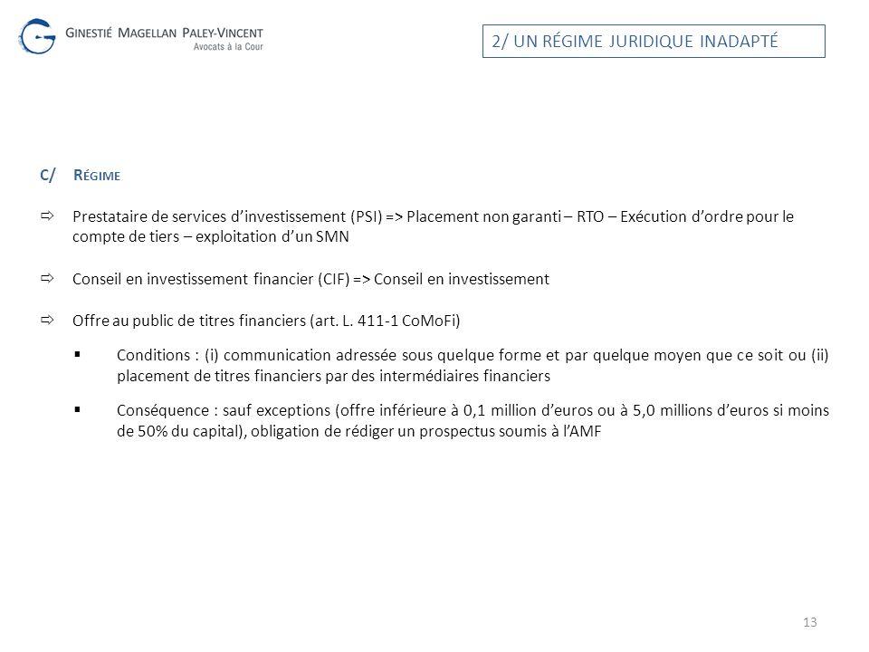 C/R ÉGIME Prestataire de services dinvestissement (PSI) => Placement non garanti – RTO – Exécution dordre pour le compte de tiers – exploitation dun S