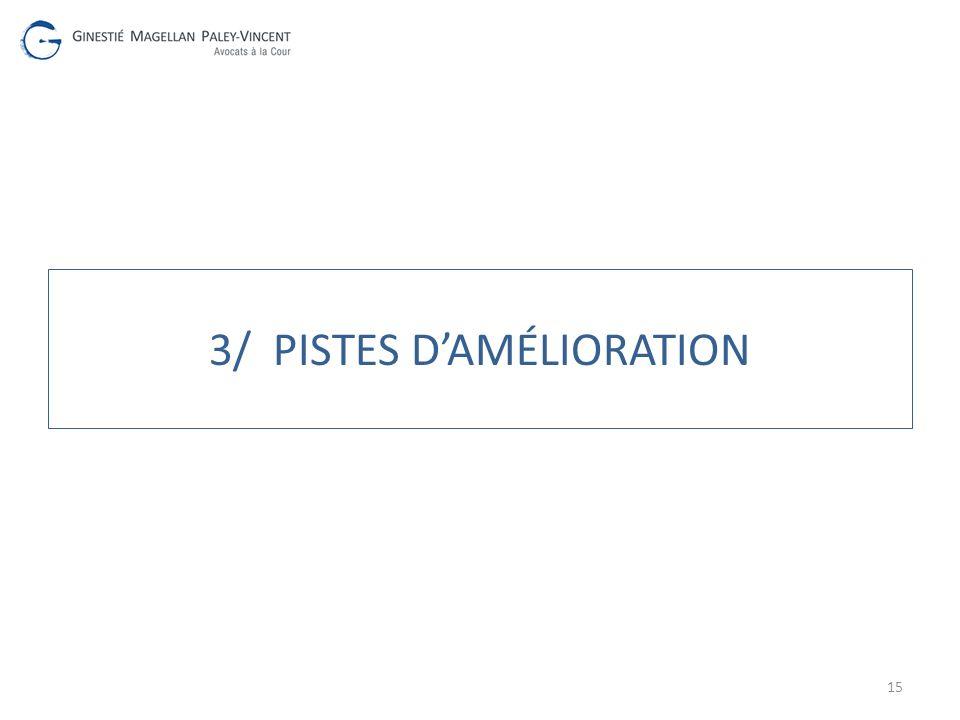 3/ PISTES DAMÉLIORATION 15