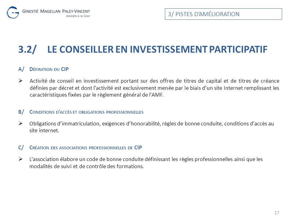 3.2/LE CONSEILLER EN INVESTISSEMENT PARTICIPATIF A/D ÉFINITION DU CIP Activité de conseil en investissement portant sur des offres de titres de capita