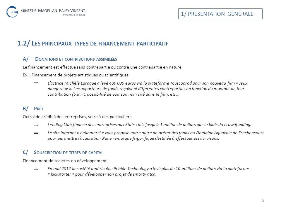 1.2/ L ES PRINCIPAUX TYPES DE FINANCEMENT PARTICIPATIF A/ D ONATIONS ET CONTRIBUTIONS ASSIMILÉES Le financement est effectué sans contrepartie ou cont