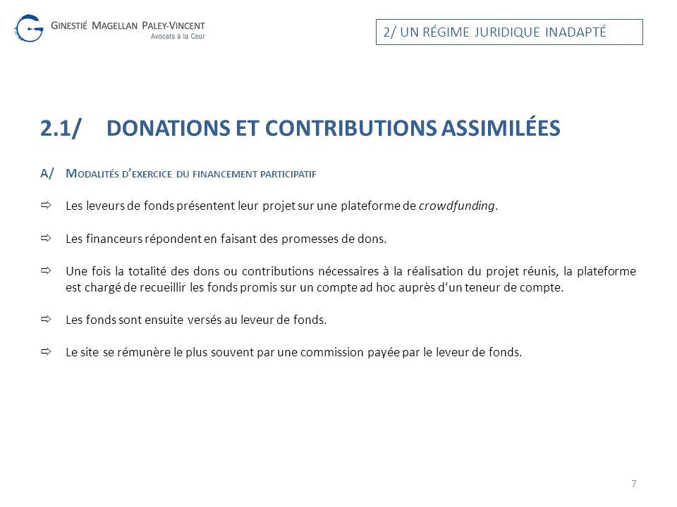 2.1/ DONATIONS ET CONTRIBUTIONS ASSIMILÉES A/M ODALITÉS D EXERCICE DU FINANCEMENT PARTICIPATIF Les leveurs de fonds présentent leur projet sur une pla