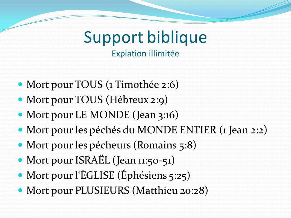 Support biblique Expiation illimitée Mort pour TOUS (1 Timothée 2:6) Mort pour TOUS (Hébreux 2:9) Mort pour LE MONDE (Jean 3:16) Mort pour les péchés