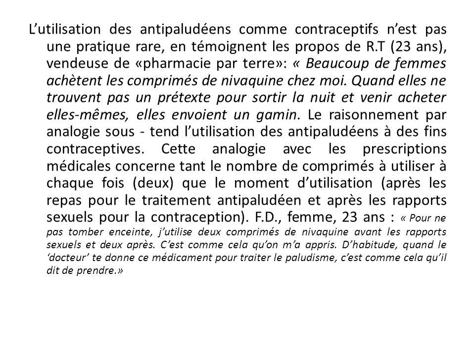 La réinterprétation des propositions des programmes (1) Lutilisation des antipaludéens comme contraceptifs nest pas une pratique rare, en témoignent les propos de R.T (23 ans), vendeuse de «pharmacie par terre»: « Beaucoup de femmes achètent les comprimés de nivaquine chez moi.