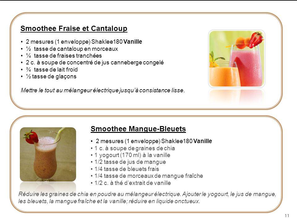 Smoothee Fraise et Cantaloup 2 mesures (1 enveloppe) Shaklee180 Vanille ½ tasse de cantaloup en morceaux ¼ tasse de fraises tranchées 2 c. à soupe de