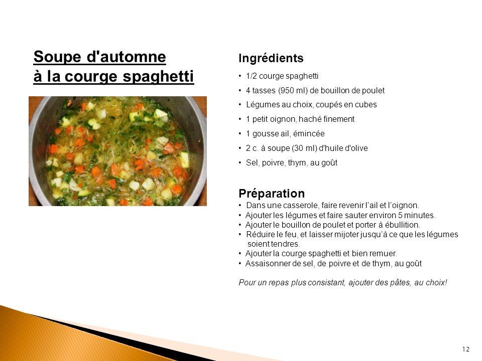 Soupe d'automne à la courge spaghetti Ingrédients 1/2 courge spaghetti 4 tasses (950 ml) de bouillon de poulet Légumes au choix, coupés en cubes 1 pet