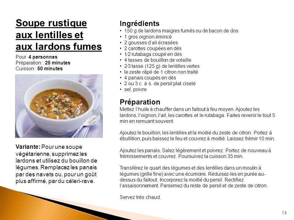 Soupe rustique aux lentilles et aux lardons fumes Ingrédients 150 g de lardons maigres fumés ou de bacon de dos 1 gros oignon émincé 2 gousses dail éc
