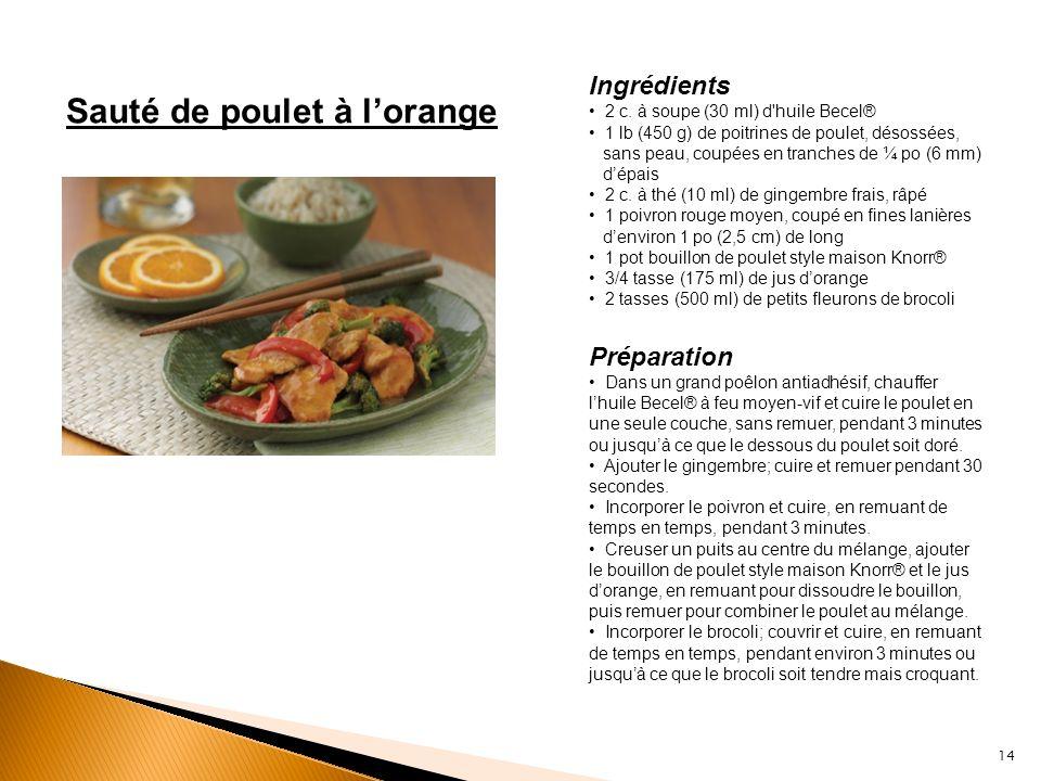 Sauté de poulet à lorange Ingrédients 2 c. à soupe (30 ml) d'huile Becel® 1 lb (450 g) de poitrines de poulet, désossées, sans peau, coupées en tranch