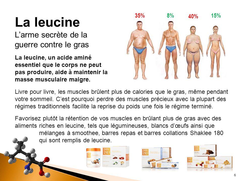 La leucine, un acide aminé essentiel que le corps ne peut pas produire, aide à maintenir la masse musculaire maigre. Livre pour livre, les muscles brû