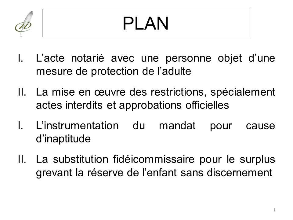 PLAN I.Lacte notarié avec une personne objet dune mesure de protection de ladulte II.La mise en œuvre des restrictions, spécialement actes interdits e