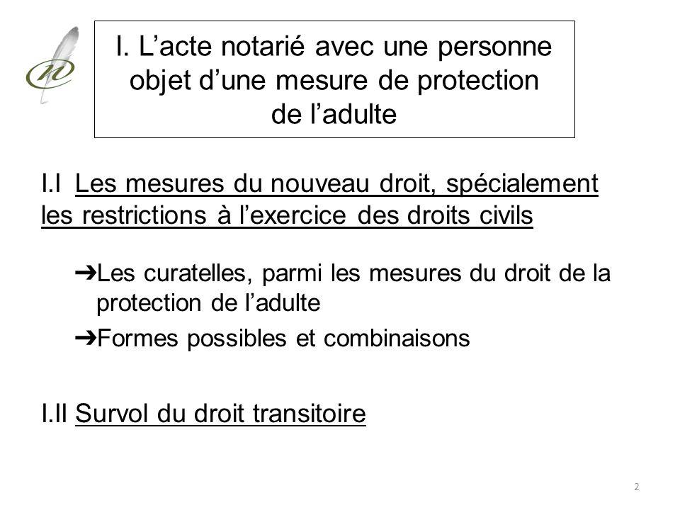 I. Lacte notarié avec une personne objet dune mesure de protection de ladulte I.ILes mesures du nouveau droit, spécialement les restrictions à lexerci