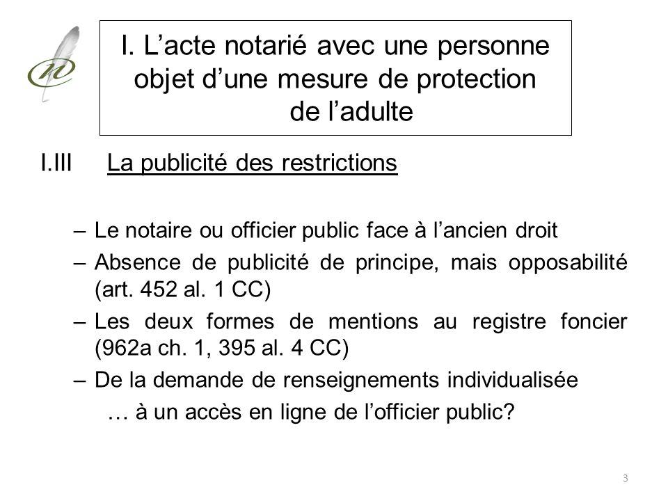 I. Lacte notarié avec une personne objet dune mesure de protection de ladulte I.IIILa publicité des restrictions –Le notaire ou officier public face à