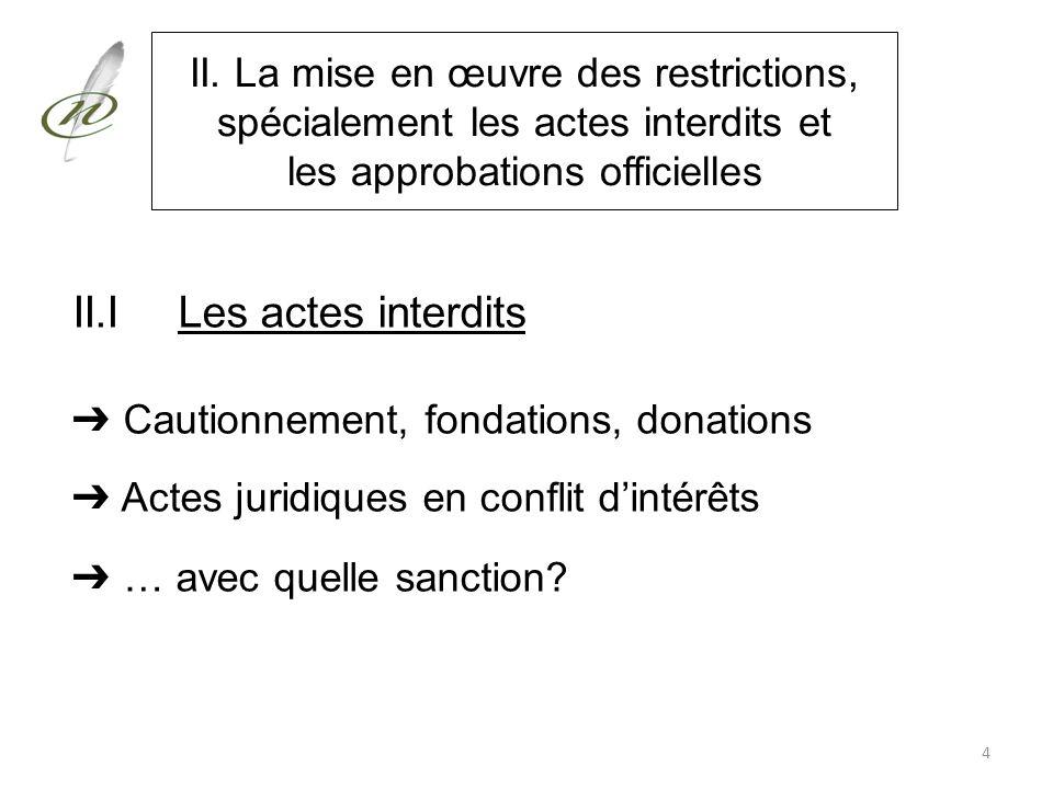 II. La mise en œuvre des restrictions, spécialement les actes interdits et les approbations officielles II.ILes actes interdits Cautionnement, fondati