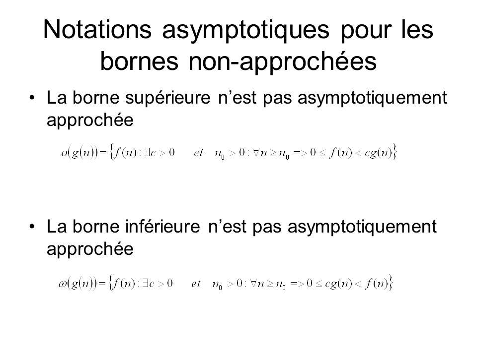 Notations asymptotiques pour les bornes non-approchées La borne supérieure nest pas asymptotiquement approchée La borne inférieure nest pas asymptotiquement approchée