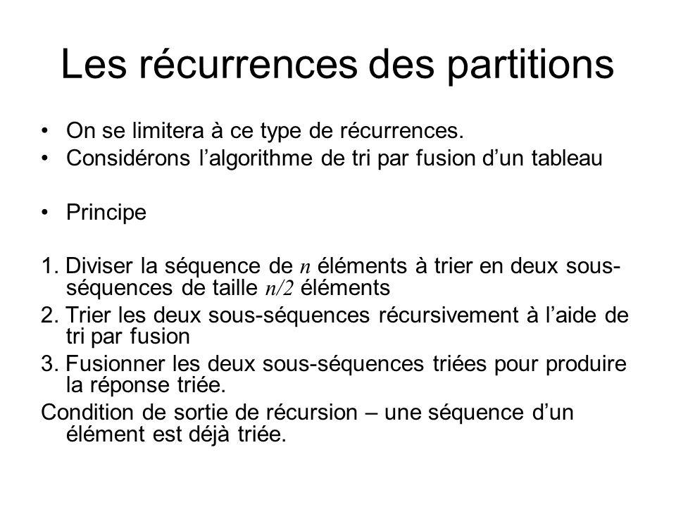 Les récurrences des partitions On se limitera à ce type de récurrences.