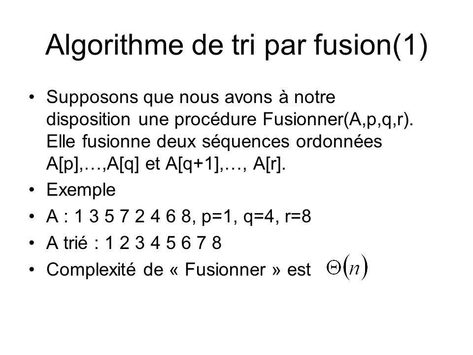 Algorithme de tri par fusion(1) Supposons que nous avons à notre disposition une procédure Fusionner(A,p,q,r).